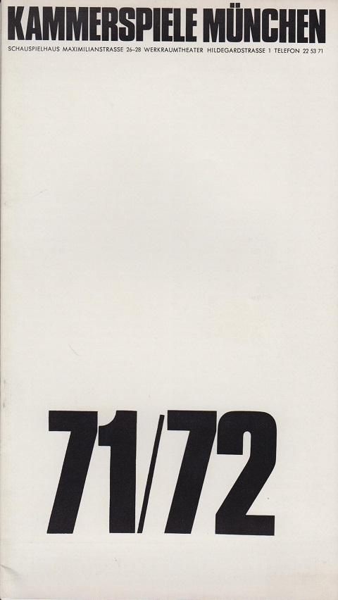 Heft 1. Moliere. Don Juan. Kammerspiele München 1971/72 . 61. Spielzeit.