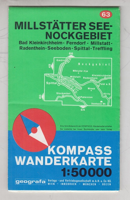 Kompass Wanderkarte Millstätter Seenockgebiet. Bad Kleinkirchheim, Ferndorf, Millstatt, Radenthein, Seeboden, Spittel, Treffling. Nummer 63. Kolorierte Landkarte / Karte.