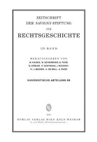 ZRG Kanonistische Abteilung, 129. Band (Kan.Abt.98). Zeitschrift für Savigny-Stiftung für Rechtsgeschichte. Erstauflage, EA
