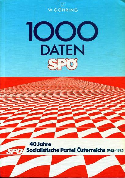 1000 Daten SPÖ - 40 Jahre Sozialist. Partei Österreichs 1945 - 1985. Zur Entwicklung der Sozialistischen Partei Österreichs 1945 - 1985. Erstauflage, EA,