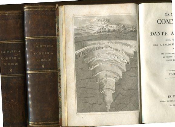 La Divina Commedia - 3 Bände. col comento del P. Baldasswrre Lombardi, ora nuovamente Arricchito di molte Illustrazioni Edite ed Inedite. Erstauflage dieser Ausgabe