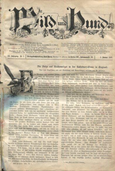 Wild und Hund, III. Jahrgang 1897, Heft 1-53. Erstausgabe, EA