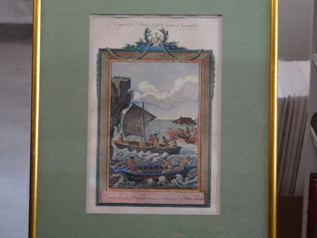 Various Kind of Vessels on the Coast of Malabar - kolorierter Kupferstich. Engreved for T. Bankes´s complete System of Geography. Erstauflage, EA
