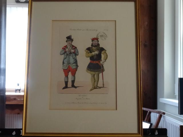 Kolorierter Kupferstich - Costüme Bilder zur Theaterzeitung Nr 37 - Hr. Scholz als Augustin und Robert. Nr. 37. Erstauflage, EA