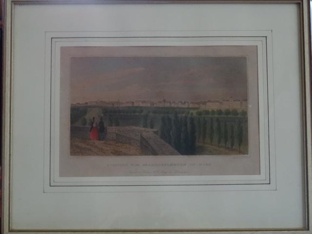 Kolorierter Stahlstich - Aussicht vom Paradiesgarten in Wien. aus Lange Original-Ansichten der historisch merkwürdigsten Staedte. Erstauflage, EA