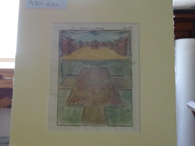 Kolorierter Kupferstich - Der Palast zu Peking - Palais de Peking. aus Beschreibung des gantzen Welt-Kreises Fig. XV. Erstauflage, EA