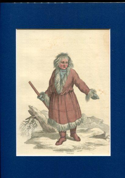 Kolorierter Kupferstich - A Kamtschadale in his Winter Dress. Plate XLIX. Erstauflage, EA