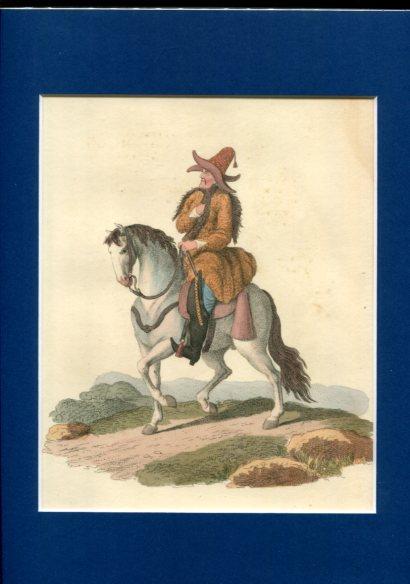 Kolorierter Kupferstich - A Kirghis on Horseback. Plate XXX. Erstauflage, EA.