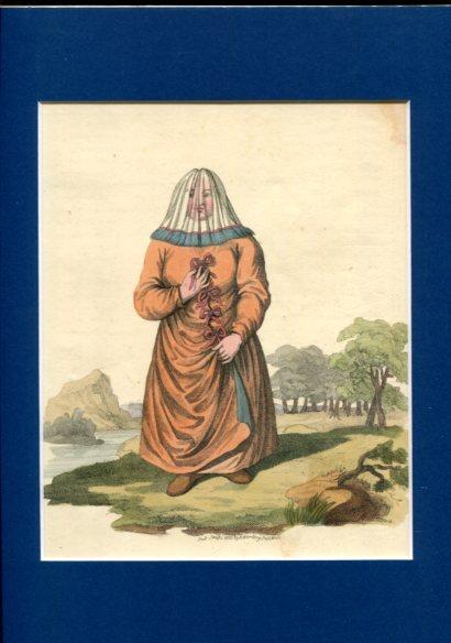 Kolorierter Kupferstich - A Female Ostiak. Plate XVII. Erstauflage, EA.