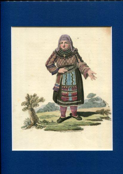 Kolorierter Kupferstich - a Female Peasant of Finland. Plate III. Erstauflage, EA.