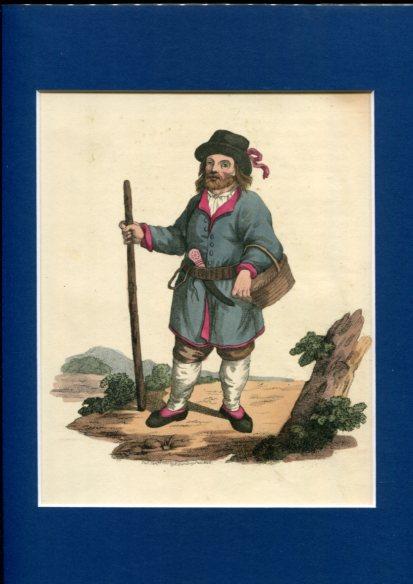 Kolorierter Kupferstich - a Peasant of Finland. Plate IV. Erstauflage, EA.