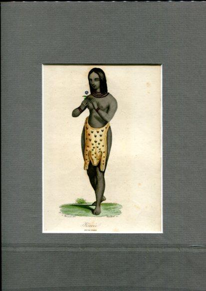 Kolorierter Kupferstich - von Choubard nach Zeichnung von Léopold Massard (1812–1889). Kirree Jeune Fille. Erstauflage, EA.