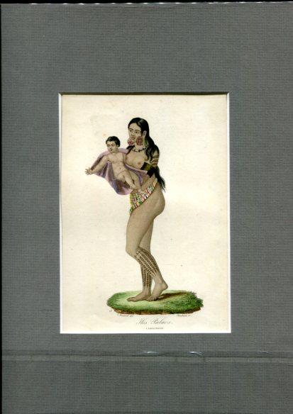 Kolorierter Kupferstich - von Choubard nach Zeichnung von Léopold Massard (1812–1889). Iles Palaos Carolinoise. Erstauflage, EA.