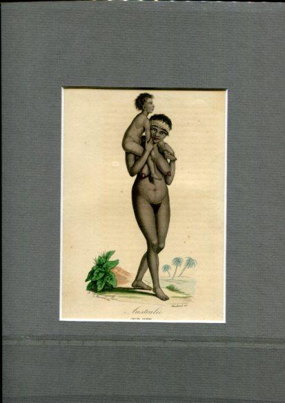 Kolorierter Kupferstich - von Choubard nach Zeichnung von Léopold Massard (1812–1889). Australie - Jeune Femme. Erstauflage, EA.