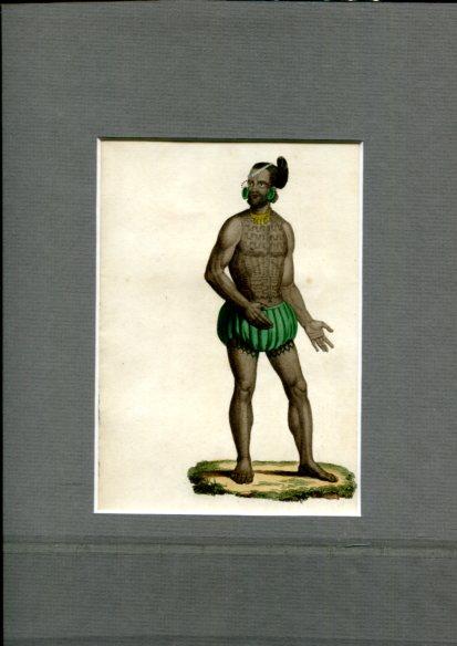 Kolorierter Kupferstich - von Choubard nach Zeichnung von Léopold Massard (1812–1889). Archipel Romanzoff - Rarick. Erstauflage, EA.