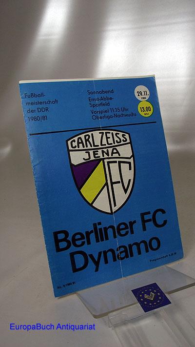Programmheft Nr.9/1980/81 Carl Zeiss Jena- Berliner FC Dynamo Fußballmeisterschaft der DDR 1980/81 29.11. 1980