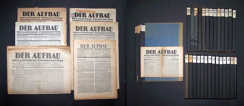 Der Aufbau - Sozialistische / Schweizerische Wochenzeitung für Recht, Freiheit und Frieden. 35 vollständig vorliegende Jahrgänge: 2 (1921) / 3 (1922) / 6 (1925) / 7 (1926) / 9 (1928) / 11-16 (1930-1935) / 20 (1939) / 23 (1942) / 26-29 (1945-1948) / 31-35 (1950-1954) / 37-42 (1956-1961) sowie 45-51 (1964-1970) und 6 unvollständig vorliegende Jahrgänge (siehe Beschreibung): 1 (1919/20) / 4 (1923) / 5 (1924) / 8 (1927) / 10 (1929) sowie 17;