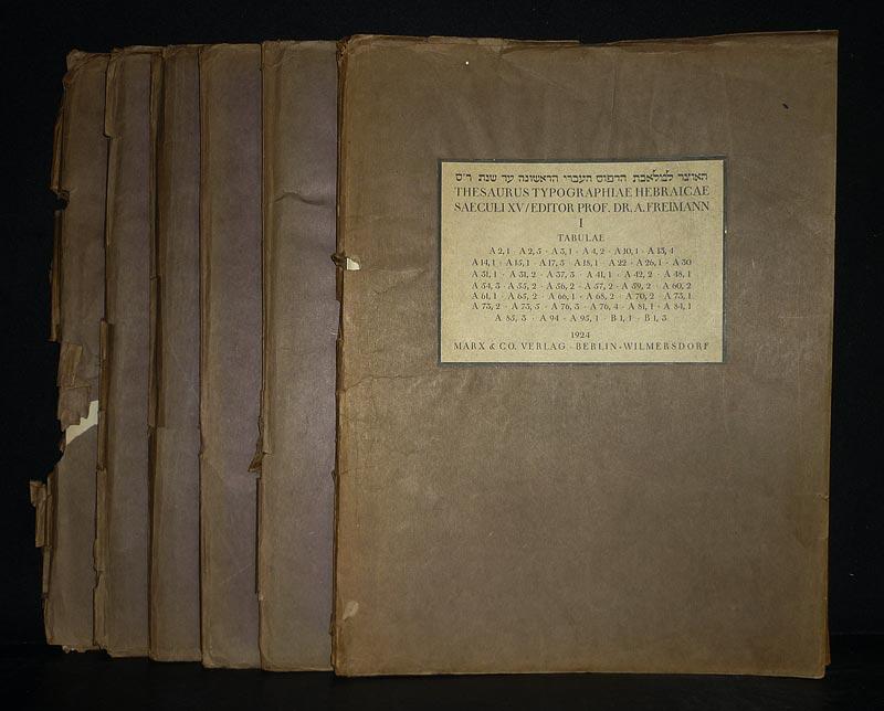 Thesaurus typographiae hebraicae saeculi XV. Editor Prof. Dr. A. Freimann. Tabulae. Bände 1 bis 5 und 7 (von 8) / Vol. 1-5 and 7 (of 8).