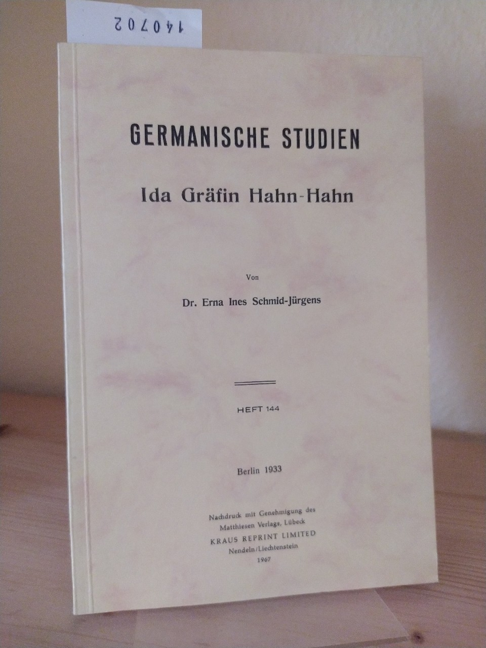 Ida Gräfin Hahn-Hahn. [Von Erna Ines Schmid-Jürgens]. (= Germanische Studien. Heft 144). Reprint der Ausgabe Berlin, Verlag Dr. Emil Ebering 1933.