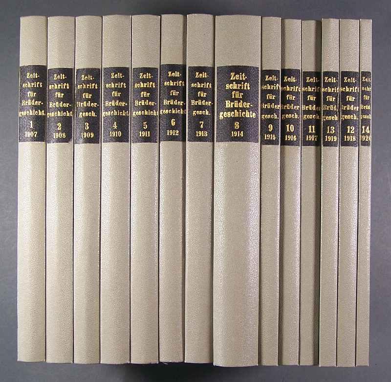 Zeitschrift für Brüdergeschichte. Herausgegeben von Jos(eph) Th(eodor) Müller und Gerh(ard) Reichel. (14 Bände). Jahrgänge 1-14 (1907-1920).