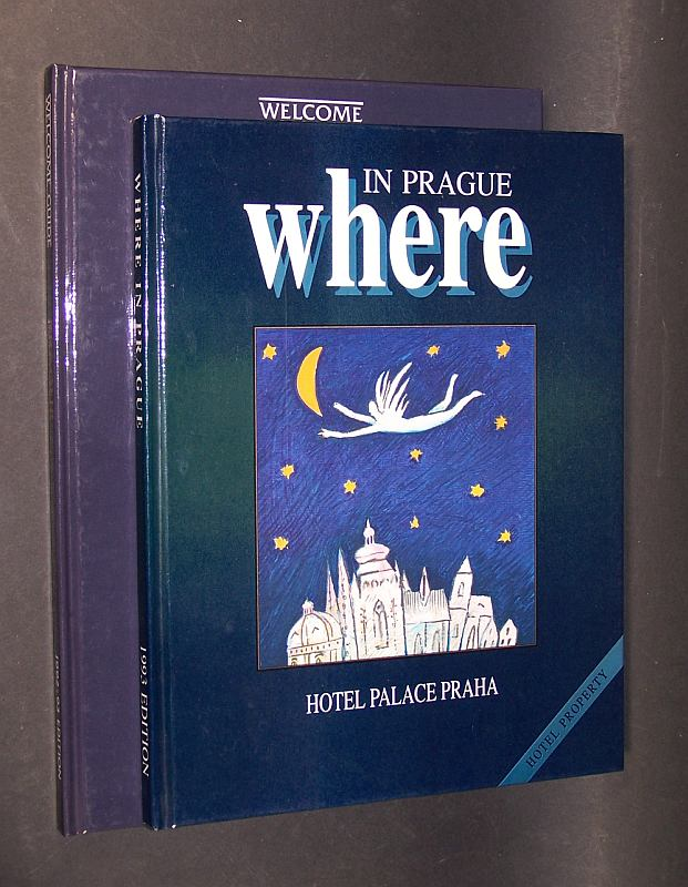 2 ältere Reiseführer des Hotel Palace Praha (Hotel property): 1. Welcome Guide. 1992 und 1993 Edition. Prague. -  2. In Prague where. Volume 1 - 1993.