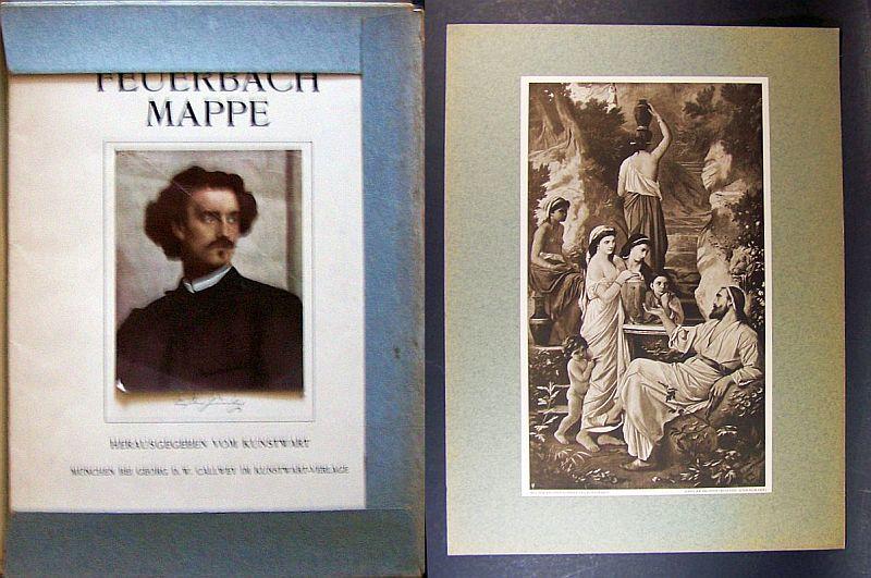 Feuerbach-Mappe. Herausgegeben vom Kunstwart. Mit 29 (von 30) losen, teils farbigen, montierten Reproduktionen und 1 Beiheft .