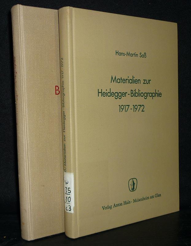 Heidegger-Bibliographie. [2 Bände]. Von Hans-Martin Saß. - Band 1: Heidegger-Bibliographie. - Band 2: Materialien zur Heidegger-Bibliographie 1917-1972. 2 Bände.