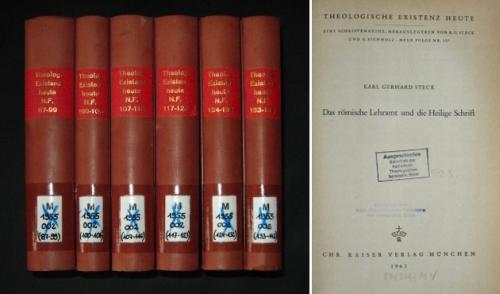 Theologische Existenz heute. Eine Schriftenreihe, herausgegeben von K. G. Steck und G. Eichholz, Neue Folge Nr. 87 - 142 (56 Hefte, gebunden in 6 Bänden), erschienen in den Jahren 1961-1967,