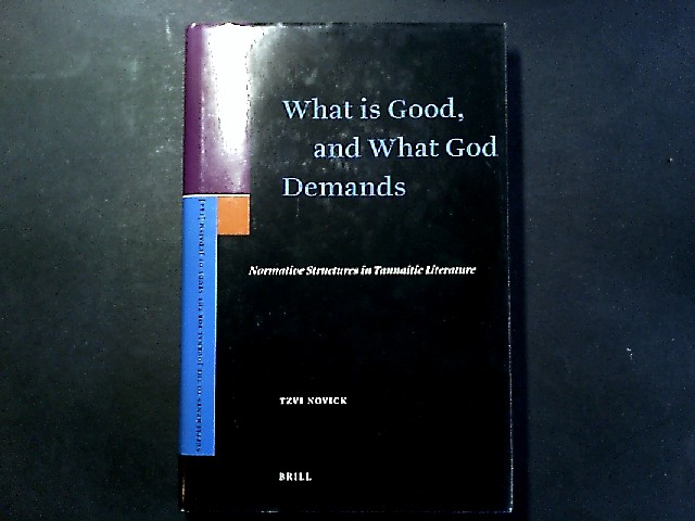 What Is Good, and What God Demands. Normative Structures in Tannaitic Literature. [Von Tzvi Novick]. (= Supplements to the Journal for the Study of Judaism. Volume 144).