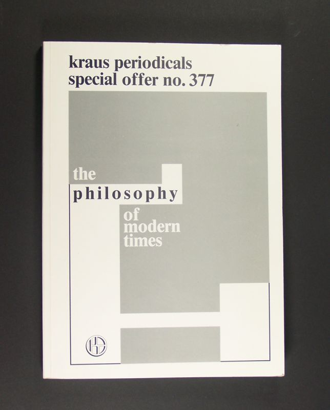 The Philosophy of Modern Times. Special Offer no. 37. Part 1: Books - nos. 1 - 4270. Part 2: Periodicals: nos. 4271-4408.