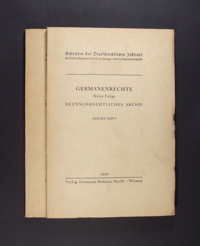Deutschrechtliches Archiv. 2 Hefte. (= Abteilung Beihefte. Germanenrechte, Neue Folge. / Schriften des Deutschrechtlichen Instituts). 2 Hefte (komplett).