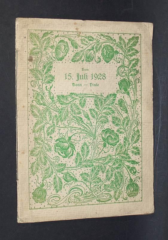 """Zum 15. Juli 1928. Ein Diesterwegtag in Bonn und auf der Pinte. - Ein Erinnerungsblatt an den Diesterwegtag am 15 Juli 1928 für die lieben """"alten"""" Kinder, die diesen schönen Tag mit erlebten, und für die, die leider fern sein mußten, gewidmet und mit Herzlichem Gruß und Dank für alle Liebe und Treue zum Hause von Tante Gustchen."""
