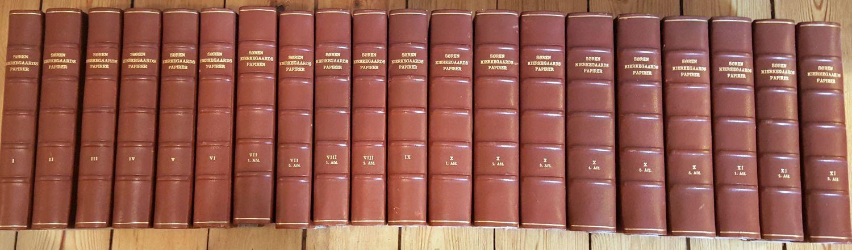 Sören [Søren] Kierkegaards Papirer. Udgivne af P.A. [Peter Andreas] Heiberg og V. [Victor] Kuhr [og Einer Torsting]. Vol I-XI/3 (= vollständig). 11 Bände in 20 Teilbänden, so complett.
