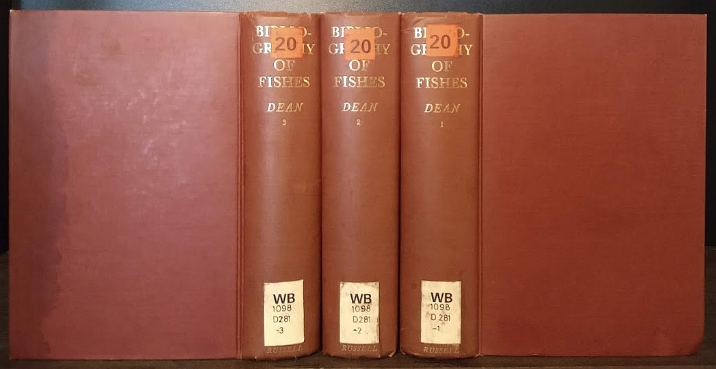 A Bibliography of Fishes in 3 Volumes. By Bashford Dean. Enlarged and edited by Charles Rochester Eastman (I+II), extended and edited by Eugene Willis Gudger and Arthur Wilbur Henn (III). 3 Volumes (= vollständig / complete).