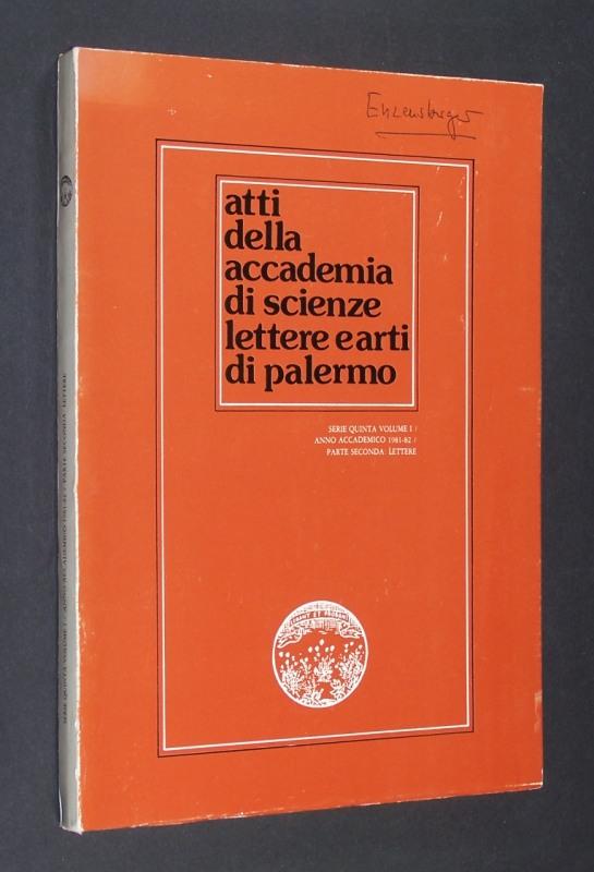 atti della accademia di scienze lettere earti di palermo. Serie Quinta Volume 1/Anno Accademico 1981-82/Parte Seconda: Lettere.