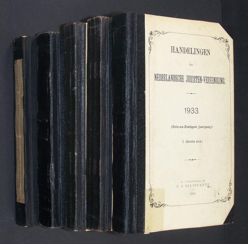 Handelingen der Nederlandsche Juristen-Vereeniging. 63e Jaargang (1933) - 65e Jaargang (1935), 68e  Jaargang (1938) & 97e Jaargang (1949). 5 Bände/Volumes.