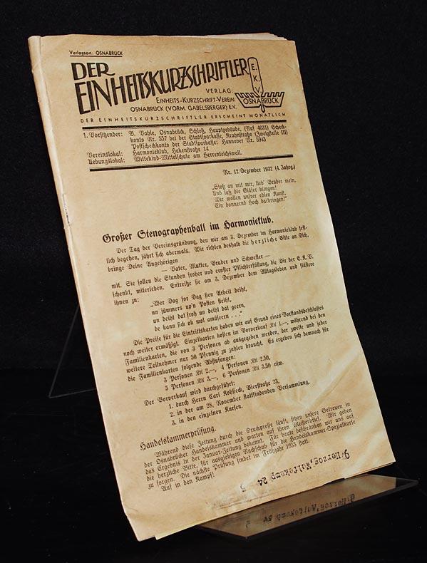Der Einheitskurzschriftler, Nr. 12/Dezember 1932 (4. Jahrgang).