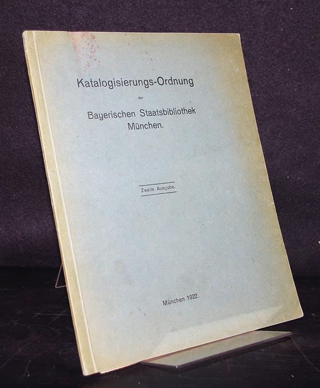 Katalogisierungs-Ordnung der Bayerischen Staatsbibliothek München. 2. Ausgabe.
