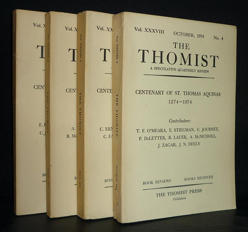 The Thomist. [4 Bände]. A Speculative Quarterly Review of Theology and Philosophy, Vol. 38, No 1-4. Centenary of St. Thomas Aquinas 1274-1974. 4 Bände (= Jahrgang 1974 vollständig).