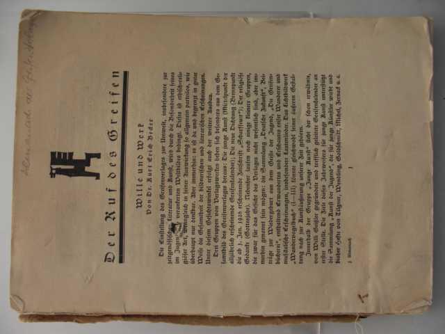 Almanach des Greifen Verlages : Schwarzer Greif : 1925 erste Auflage :
