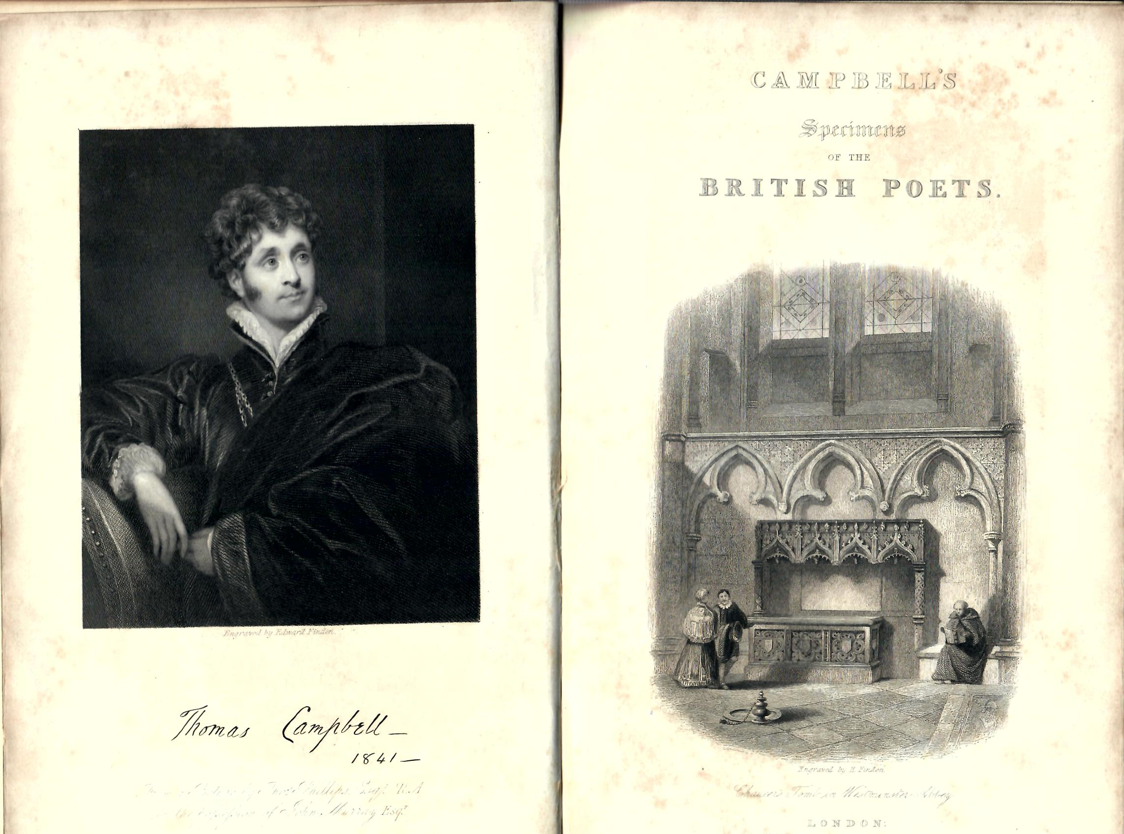 Specimens of the British Poets; with biographical and critical notices, and an essay on english poetry by Thomas Campbell, ESQ : a new edition : John Murray, Albemarle Street, London MDCCCXLI (1841), schönes Exemplar, Ledereinband mit Goldschnitt keine Angabe