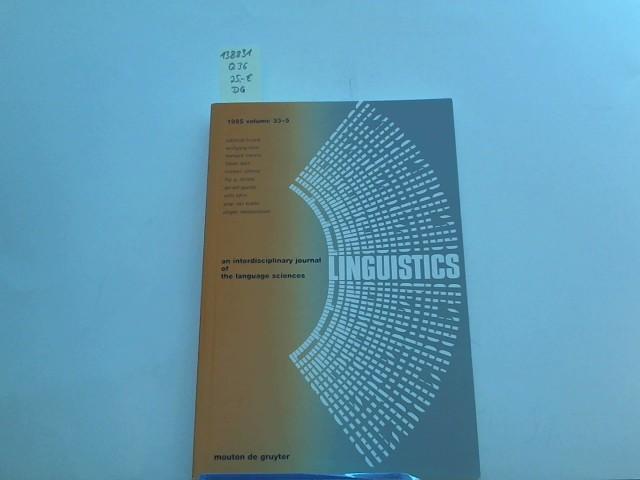 Linguistics, 1995 volume 33-5, an interdisciplinary journal of the language sciences