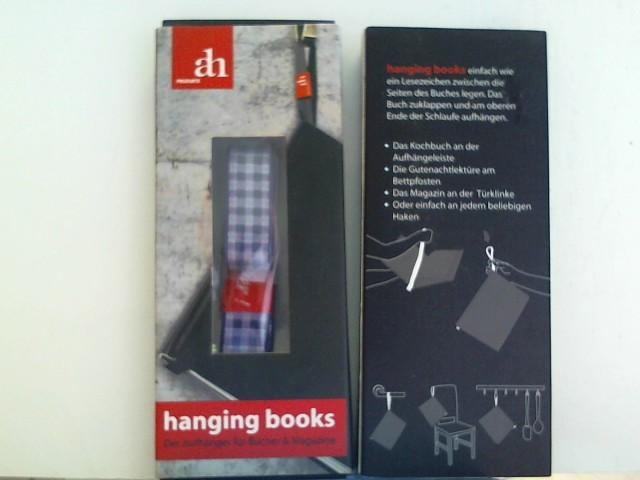hanging books Buchaufhänger | Lecker | blau-vichy: Aufhänger und Lesezeichen für Bücher und Magazine