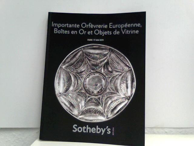 Sotheby's (Hrsg.): Sotheby's - Importante Orfèvrerie Européenne, BHoites en Or et Objets de Vitrine - Paris, 17. Mai 2011