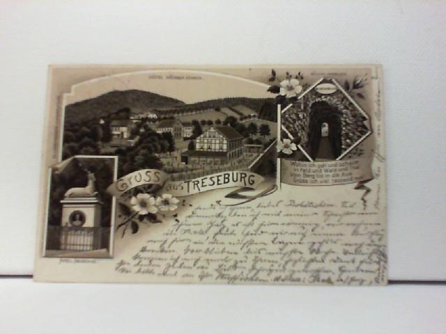 AK Gruss aus Treseburg; Lithographie; Hotel Weisser Hirsch, Pfeil-Denkmal, Wilhelmsblick