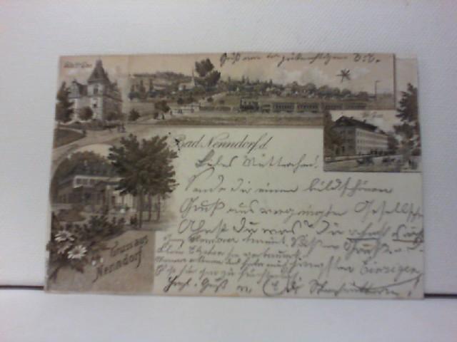 AK Gruss aus Nenndorf, Bad Nennsofr; Lithographie; Villa Dr. Ewe, Ortspanorama mit Eisenbahn, Trinkquelle, Gr. Bau