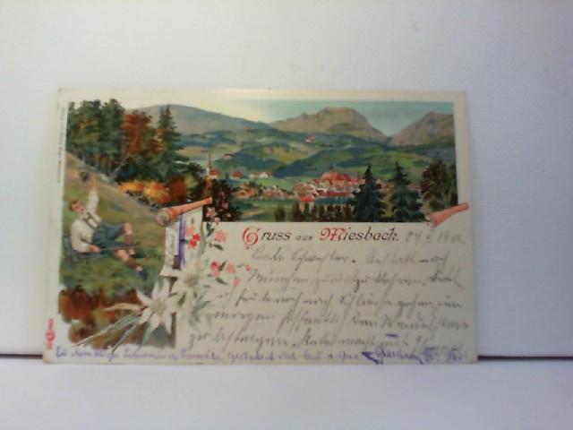 AK Gruss aus Miesbach; Lithographie; Ortspanorama
