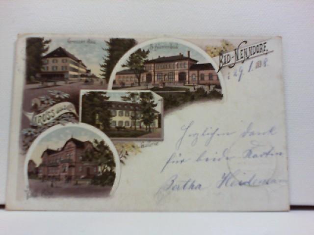 AK Gruss aus Bad Nenndorf; Lithographie; Grosser Bau, Schlammbad, Gallerie, Villa Rühe