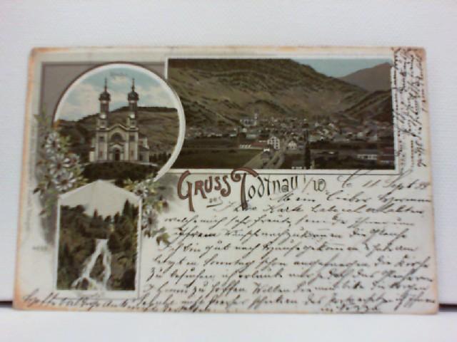 AK Todtnau i. W. (im Wiesental); Lithographie; Ortspanorama, Kirche, Wasserfall