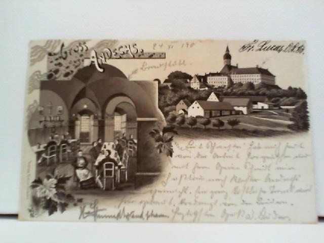 seltene AK Gruss aus Andechs; Lithographie; Vorläufer; Panorama, Innenansicht